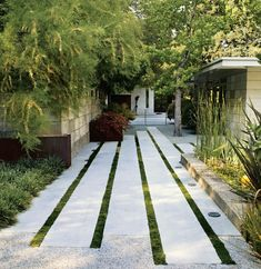 Linear paving layout. Contemporary garden design. Pinned to Garden Design by Darin Bradbury.
