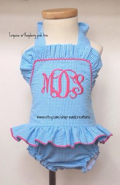 Toddler Baby Girls one piece ruffle monogram by waidcreations @Jennifer Morgan