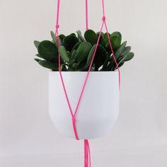 Neon roze opknoping Plant houder van BlisscraftandBrazen op Etsy