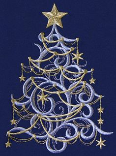 Holiday Embroidery Designs Swirl Christmas Tree Embroidery Ideas