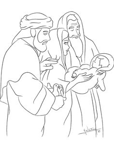 Presenting Jesus In The Temple Anna And Simeon Luke 2Coloring SheetsColoring
