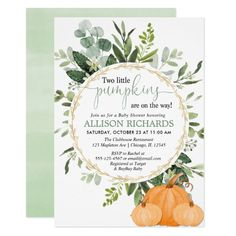 Little pumpkin fall couples greenery baby shower invitation zazzle Otoño Baby Shower, Baby Shower Themes, Shower Ideas, Girl Shower, Bridal Shower, Baby In Pumpkin, Little Pumpkin, Babyshower, Couples Baby Showers