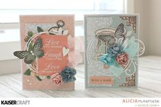 'Set of 2 Butterfly' Cards by Alicia McNamara Design Team member for Kaisercraft using 'Ooh La La' collection (October 2016) - Wendy Schultz - Cards 1.