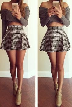 Houndstooth Fluted Mini Skirt - I really like thus one a lot, especially the length. This is what I'm going for
