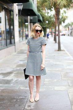 via @poorlilitgirl - blue and white striped dress