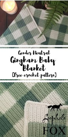 Looking for a gender neutral crochet baby blanket to gift to expecting parents? This free crochet pattern for a gingham baby blanket will be the perfect gift for any parents who are keeping their baby's gender hush-hush. Baby Girl Crochet Blanket, Crochet Blanket Patterns, Baby Patterns, Crochet Baby, Neutral Baby Blankets, Gender Neutral Baby, Baby Knitting, Free Crochet, Crochet Flowers
