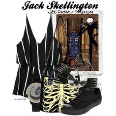 Jack Skellington, The Doctor's Companion by amarie104 on Polyvore featuring Converse, Ayaka Nishi and Disney