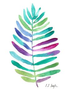 Jungle Palm Leaf original watercolor painting by GrowCreativeShop
