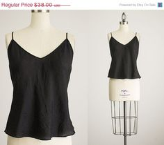 20 OFF SALE 90s Vintage Black Silk Camisole Tank Top / by decades