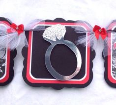 Wedding ring banner, bachelorette banner, miss to mrs banner, bachelorette party decorations, red, black, photo prop, nancysbannerboutique, etsy, handmade banners