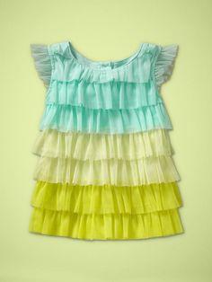 Toddler Girl: Ombre Ruffled Tulle Top in Ballerina Blue