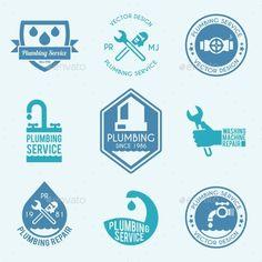 Plumbing Labels Icons Set
