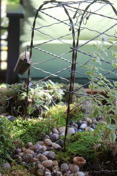 diy-fairy-garden  I love the use of stone for walkways!