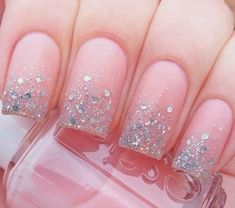 Nails french manicure glitter pink ideas for 2019 Glitter French Manicure, French Manicure Designs, French Nails, Nail Manicure, Glitter Nails, Nail Polish, French Manicures, Nails Design, Fall Acrylic Nails