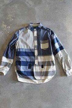 no info on this men's striped shirt. Jeans, Denim Shirt, Patchwork, Boy Fashion, Mens Fashion, Mens Trends, Shirt Store, Menswear, Shirt Designs