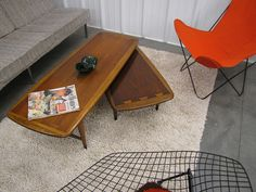 """That awesome swiveling coffee table! Lane """"Acclaim"""" by Andre Bus, 1960–'65."""