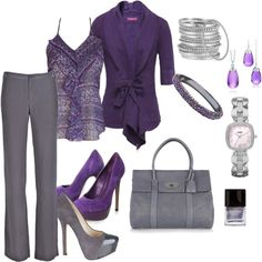 A fashion look from April 2012 featuring length sleeve tops, purple ruffle top and straight leg trousers. Browse and shop related looks. Mode Outfits, Fashion Outfits, Womens Fashion, Work Fashion, Fashion Looks, Purple Outfits, Business Casual Outfits, Purple Fashion, Work Attire
