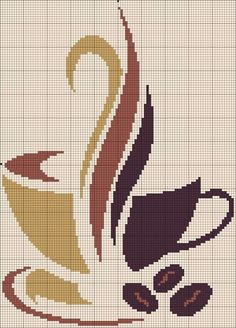 This chart could easily be used for tapestry crochet or even cross stitch over single crochet. Awesome, warm coffee design.