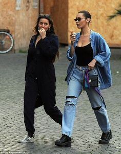 Good times: Bella Hadid was spotted in Rome enjoying a mini holiday with her pal on Sunday