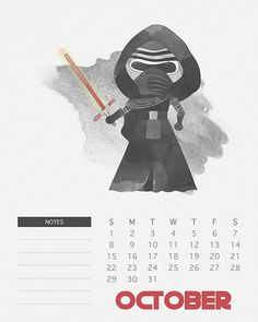 Free Printable 2017 Watercolor Star Wars Calendar