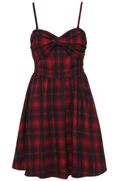 Bowknot Plaid Red Dress