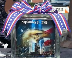 9-11 Memorial Glass Block Light | HCLTreasures - Housewares on ArtFire