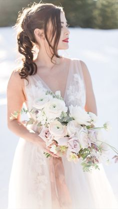 Winter wedding floral design with dusty pink, white, rose, and lavender flowers Floral Wedding, Wedding Flowers, Wedding Dresses, Winter Bouquet, Lavender Flowers, Bridal Bouquets, Dusty Pink, One Shoulder Wedding Dress, Floral Design