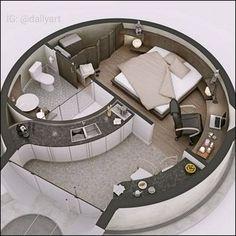 🇧🇷 Que tal uma casa redonda? 🤔/ 🇺🇲 How about a round house? 🤔/ 🇪🇸 ¿Qué tal una c… Layouts Casa, House Layouts, Tiny House Design, Modern House Design, Home Design, Design Art, Dorm Room Organization, Organization Ideas, Dome House