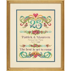 "This stunning design features hearts, flowers, flourishes and joined rings to celebrate a special marriage. Our Vintage Sampler Anniversary Record in counted cross stitch can be personalized with couple's names, location and date of wedding, and the number of years married. Makes a very thoughtful gift. Finished size: 9"" x 12"" (22 cm x 30 cm). This counted cross stitch kit contains:• Presorted cotton thread• 14 count natural Aida• Needle• Easy instructions with an alphabet and numbers"