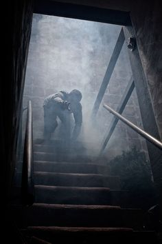 Jesse getting out of the basement after killing the intruders and going to Saber. He used his leggs with the help of the bionics he's been working on with Lily.