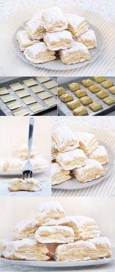 Miguelitos, pasteles de hojaldre y crema: