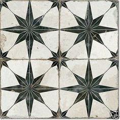 Granada Vintage Moroccan Encaustic Mosaic Pattern Black White Wall Floor Tiles