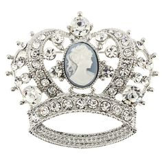 Crystal Cameo Crown Pin Brooch - Fantasyard Costume Jewelry & Accessories