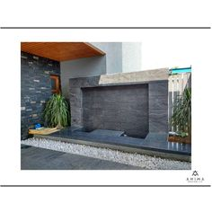 Designed a small water fountain gracing the entrance of a home clad in flex (composite) stone and a pebbled pathway adjoining the same that forms the hardscape of the space. Small Water Fountain, Compound Wall, Pathways, Entrance, Exterior, Stone, Architecture, Outdoor Decor, Design