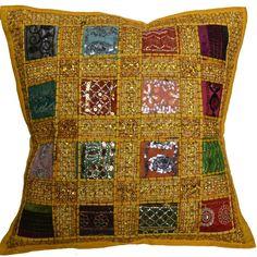 Designs Emporium Housse de coussin en sari indien recyclé, style marocain, 40…