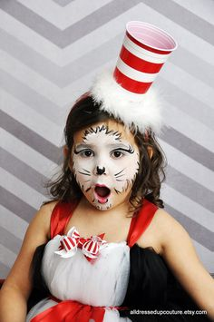 Cat In The Hat Cat In The Hat Tutu Dress by AllDressedUpCouture Dr. Seuss, Dr Seuss Hat, Dr Seuss Week, Dr Seuss Diy Costumes, Book Costumes, Kids Zombie Makeup, Kids Makeup, Anna Makeup, Makeup Ideas