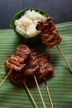 Moo ping is one of the favorite Thai street foods. Marinated grilled pork served with sticky rice.