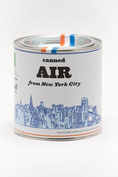 "Buy some all natural, 100% real ""canned air"" from cities all across the world."