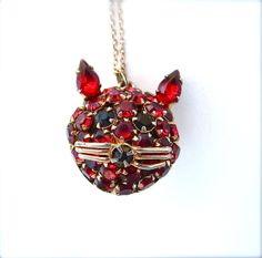 Vintage Ruby Red Rhinestone Pendant Necklace Kitty Cat Jewelry Jewel Tone Jewelry Animals Pets Gifts, FREE US SHIPPING