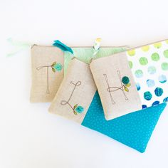 Monogram Bridesmaid Clutches, Custom Made in your Choice of Fabric Color and Design, Sets of 3 or More are Priced at a Discount