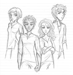 Zia, Carter, Sadie and Anubis  (Kane couples by blackwingsxv on DeviantArt)