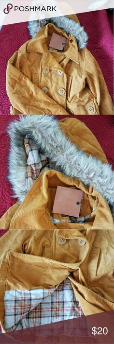 NWT Dollhouse brand corduroy coat Size M This is a tan corduroy size M coat. The brand is Dollhouse. Hood is removable and coat is flannel lined. Dollhouse Jackets & Coats