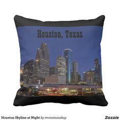 Houston Skyline at Night Throw Pillows   #houston #skyline #texas #htx #souvenir #night #cityscape #htown #buildings #architecture #city #home #decor #dusk #downtown #highrise #urban #twilight #pillow