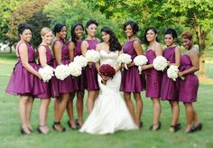 Ohhh, I love these! Even though they are short!     beautiful wine color bridesmaids dresses, photographed by scrole vision photography