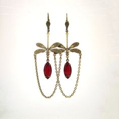 Victorian Chandelier Earrings  Dragonfly Jewelry  by ArxRosarum, €28.00