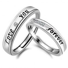 Pair of Graceful Rhinestone Forever Love Cuff Ring For Lovers