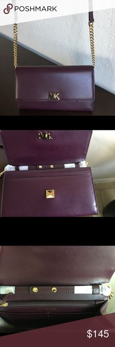 Michael Kors XK Mott Wallet Purse Michael Kors Mott XL Wallet Purse. New- never used. BRAND NEW. Leather Chain shoulder straps are adjustable and removable. Shoulder straps can be taken off and purse can be used as a wallet or a clutch. The purse is a Wine/Merlot color with gold hardware. It has over 10 credit cards departments and a large zipper area that can hold coins, loose key, your wedding band or necklace. Priced to sell. This item is not eligible for bundling. Thank you for sharing…