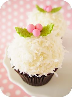 pink and green holly cupcakes