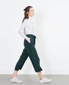 ZARA - COLLECTION AW15 - CROPPED FLOWING TROUSERS