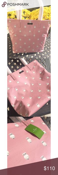 KATE SPADE *NWT* owl pink bon shopper tote Girly and fun! Kate Spade pink tote with owls all over . Logo on outside. 2 inside compartments. Inside has light tan silk fabric. Name of bag: daycation Bon shopper : painterly owl. NWT kate spade Bags Totes